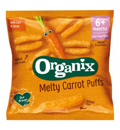 Melty corn puffs carrot 6+ maanden bio