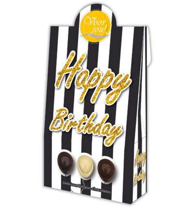 Cadeau doos black & white happy birthday