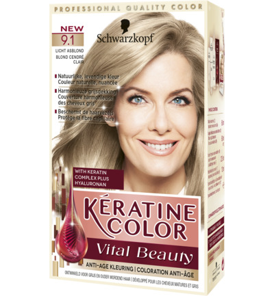 Keratine Color Haarverf 9.1 Licht Asblond