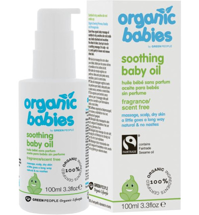Organic babies soothing baby oil scent free