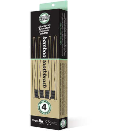 Tandenborstel bamboe active charcoal medium
