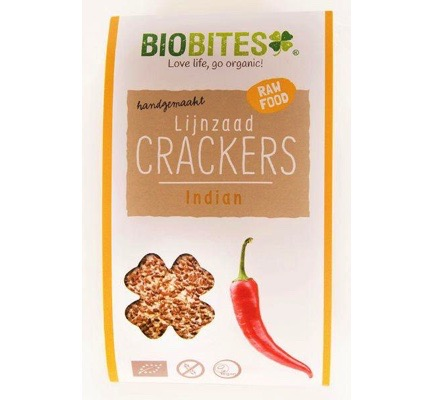 Raw food lijnzaad cracker Indian