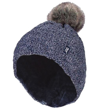 Ladies turnover cable hat with pom pom navy
