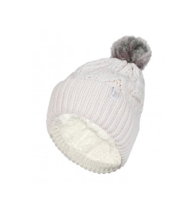 Ladies turnover cable hat with pom pom cream
