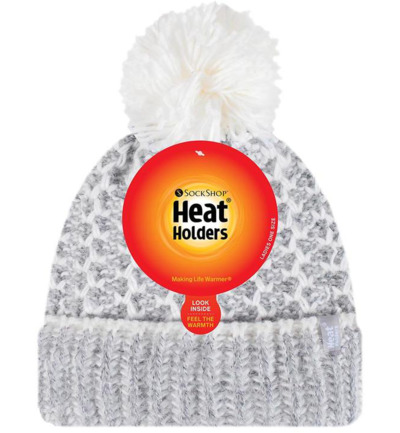 Ladies feathered knit pom pom hat lund grey/cream