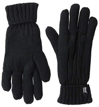 Ladies cable gloves S/M black