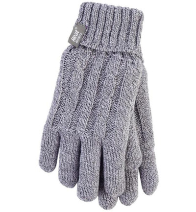 Ladies cable gloves M/L light grey
