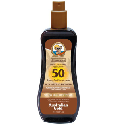 Spray gel met bronzer SPF50