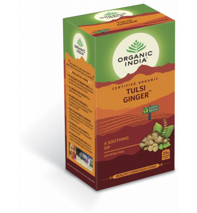 Organic India Thee tulsi ginger 25zakjes