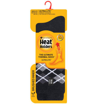 Mens ultra lite socks argyle black 6-11