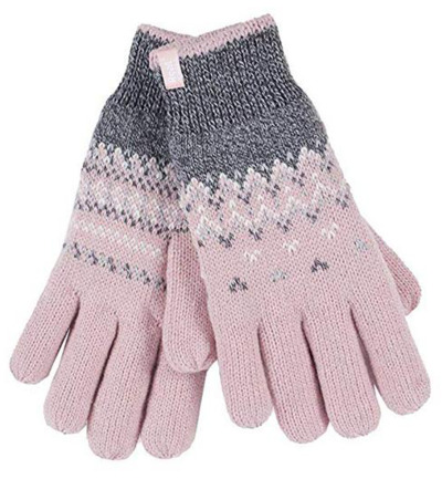 Ladies cable gloves M/L Trondheim coral