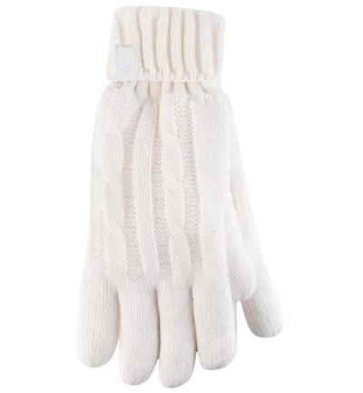 Ladies cable gloves M/L cream