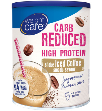 Carb reduced high protein shake iced coffee