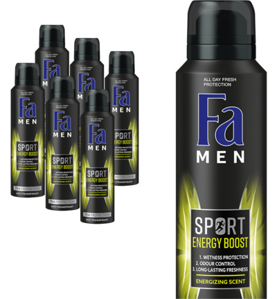 Men deodorant spray sport double power boost 6 pack