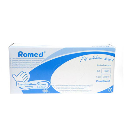 Romed Latex Handschoen Natural Spray Poeder L 100stuks