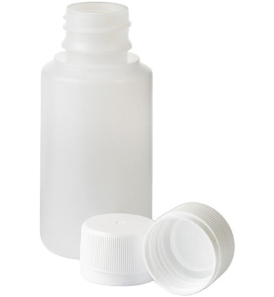 Fles HDPE naturel + afsluitdop 28 mm 100 ml