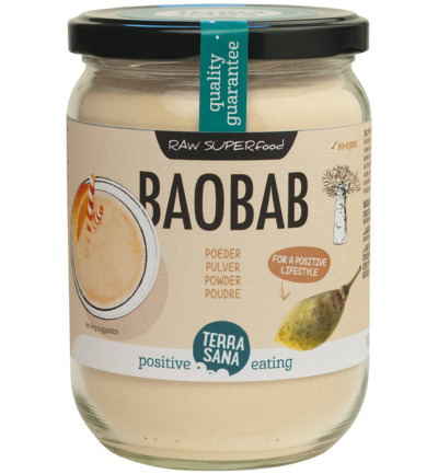 Raw baobab poeder in glas