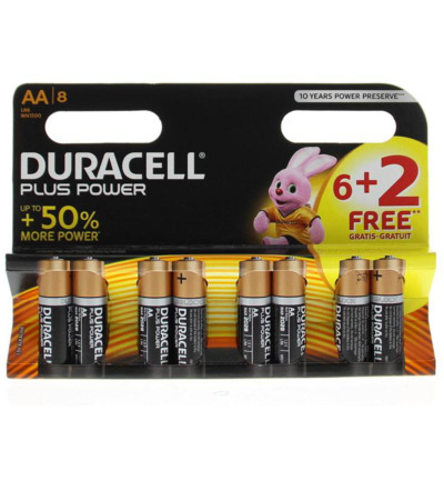 Plus power AA 6+2 gratis