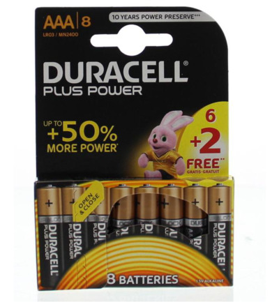 Plus power AAA 6+2 gratis