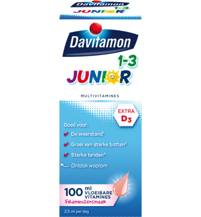 Junior 1+ Vloeibare Vitamines Framboos