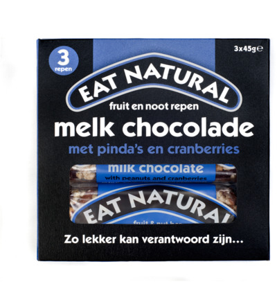 Afbeelding van Eat Natural Peanut Cranberry Cashew Macadamia Chocolate 3x45g