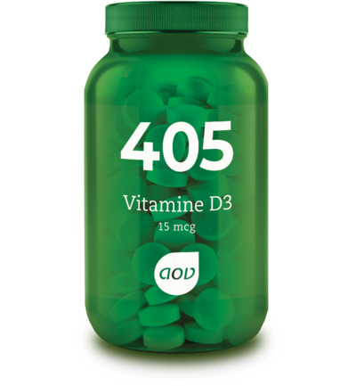AOV Voedingssupplementen 404-405 Vitamine D3 15 mcg (600 IE) 180 tabletten