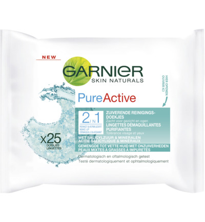 Skin naturals wipes pure active