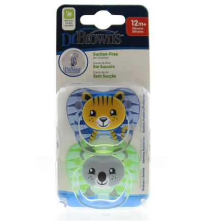 Fopspeen prevent animal faces F3 blauw