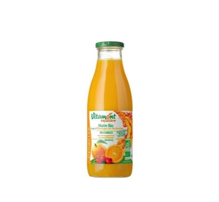 Pure sinaasappel-acerola sap morning bio