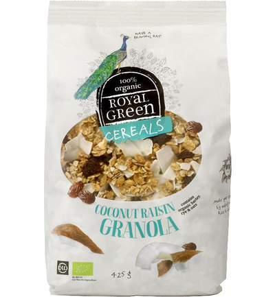 Cereals coconut raisin granola