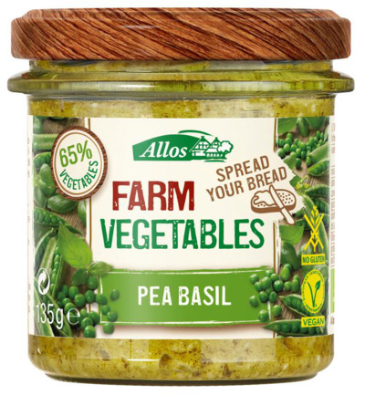 Afbeelding van Allos Farm Vegetables Doperwten & Basilicum 135g