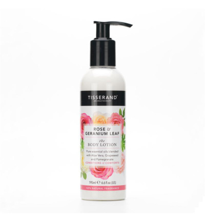 Body lotion rose geranium leaf