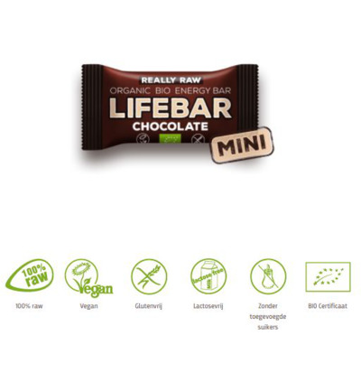 Mini lifebar energiereep chocolade raw & bio