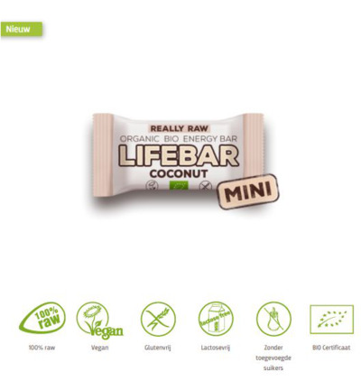 Mini lifebar energiereep kokos raw & bio