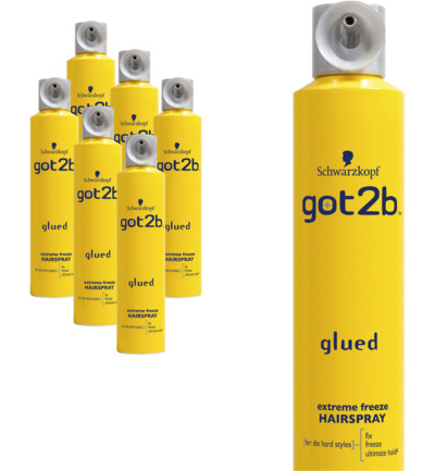 Glued extreme freeze haarspray 6-pack