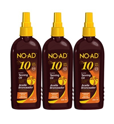 Sun tan oil spray hawaiian dark SPF10 trio