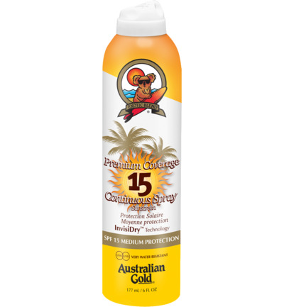 Afbeelding van Australian Gold Premium Coverage Continuous Spray Sunscreen Spf15 Invisidry 177ml
