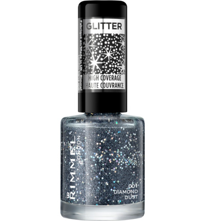 Glitter High Coverage nagellak : 001 - Diamond Dust / Zwart