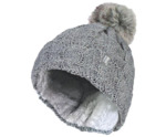 Ladies turnover cable hat with pom pom light grey